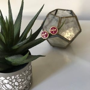 VINCE CAMUTO DRAGONFLY PINK ENAMEL STUD EARRING